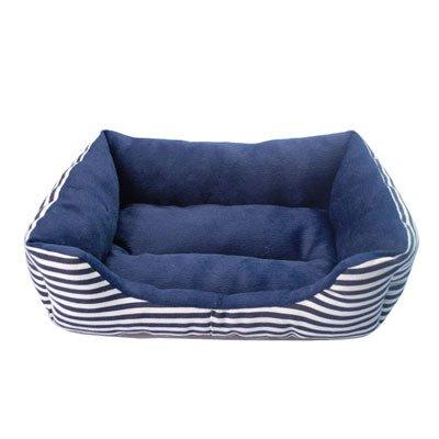 YZYSM Fashion Striped Small Dog Beds Canvas Fleece Warm Winter Cat Bed Waterproof Bottom Dog Sofa Beds L Blue Canvas Fleece