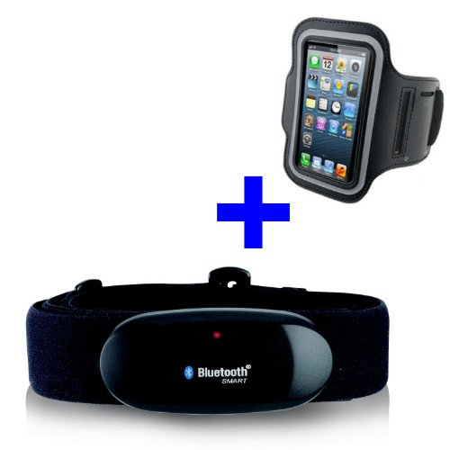GO-SHOPPING24 Bluetooth BRUSTGURT 4.0 + Armband für iPhone 5 / 5C / 5S / 6 / 6S / 6 Plus/SE / 7 / 7S / 7 Plus / 8 / X für RUNTASTIC, RUNTASTIC PRO, Road Bike, Mountain Bike App Ipod Nano 4. Generation Armband