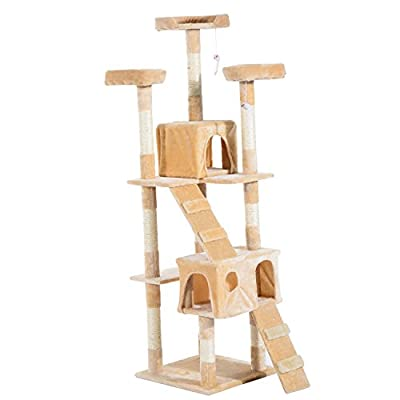 Pawhut Cat Tree Kitten Kitty Scratching Scratcher Post Climbing Tower Activity Center House Cream from sold by mhstar