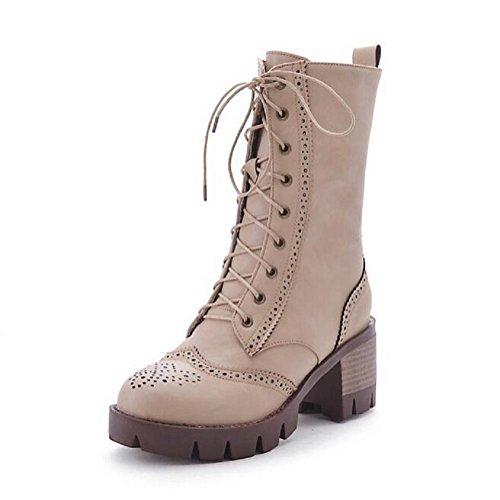 Stivali invernali pizzo anteriore di spessore - stivali con tacco corto tubo Martin beige