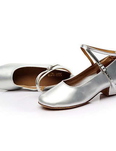 ShangYi Non Customizable Women's/Kids' Dance Shoes Modern Leatherette/Paillette Chunky Heel Silver/Gold Silver