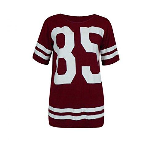 Kostüm Tanz Chicago - Balingi Damen T-Shirt mit Aufdruck BA10507, Größe:S/M;Farbe:Weinrot
