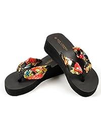 sandalias mujer plataforma, Sannysis Sandalias bohemias flor (EU 39, negro)