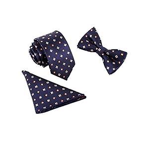 Hombre Pajarita Corbata Pañuelo de Bolsillo 3 en 1 Set – Pajarita Clásica 6*12 cm & Corbata Estrecha 6 cm & Pañuelo