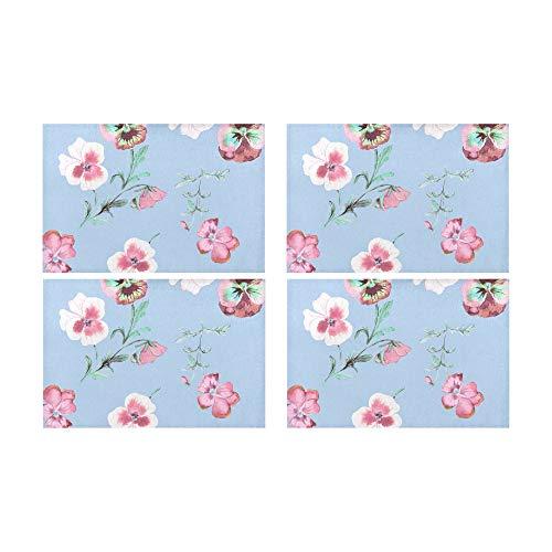 Zemivs Glorious Pansy Flower Rutschfeste schmutzabweisende Wärmedämmung Waschbar Platzdeckchen Tischset für Baby und Damen Round Dinning Küchentisch 12