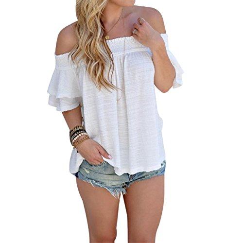 CYBERRY.M Femme Fille Épaules Nues Lâche Blanc Chemise Blouse T-shirt Top Blanc
