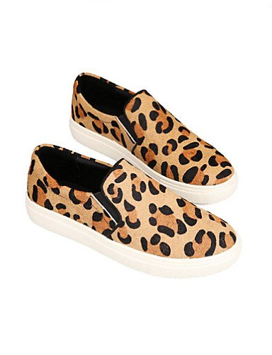 ZQ Scarpe Donna - Mocassini - Tempo libero / Casual - Comoda / Punta arrotondata - Piatto - Scamosciato - Nero / Animal , black-us8 / eu39 / uk6 / cn39 , black-us8 / eu39 / uk6 / cn39 leopard-us8 / eu39 / uk6 / cn39