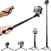 Palo Selfie con Trípode y Bluetooth 3.0 Obturador Control Remoto, Selfie Stick Monopod Extensible para Smartphone Móvil IOS Iphone Huawei BQ HTC Xiaomi Andorid y Cámaras Deportivos Gopro Sjcam