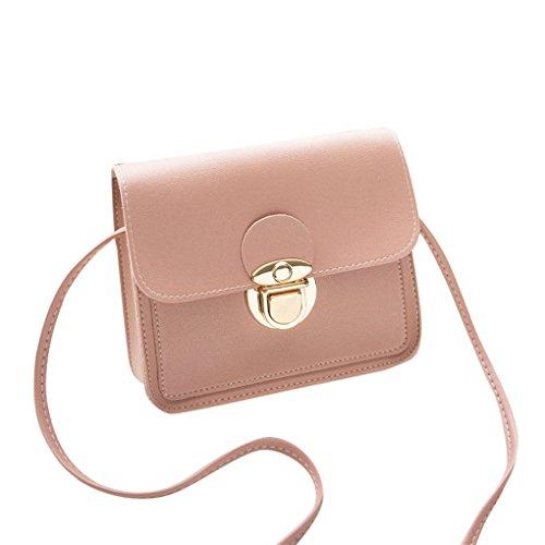 Damen Handtaschen Schultertaschen Damen Totes JYJM Fashion Damen Cover Umhängetasche Geldbörse Handytasche Einfarbig Schloss Messenger Rosa