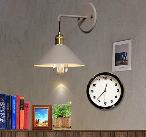 DENG Appliques Murales LED Vintage Métal Fer E27 Simple tête Mur Lampe 40 W Abat-Jour personnalité Creative Intérieur Chevet Chambre Éclairage, Gray
