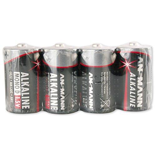 ANSMANN Red Alkaline Batterie Mono D LR20 Longlife Alkalibatterie (4er Shrink)