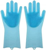 Okayji Silicone Kitchen Magic Gloves for Dishwashing Rubber Dish Washing with Brush Cleaning Scrubber – 1 Pair