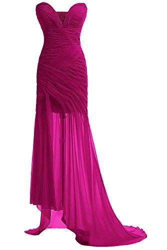 Gorgeous Bride Fashion Herz-Ausschnitt Hi-Lo Chiffon Abendkleid Festkleid Ballkleid Fuchsia