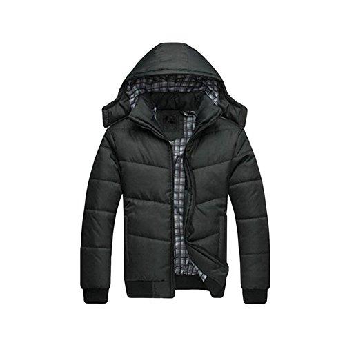 Zhuhaixmy Uomo Nero Cappuccio Piumino Caldo Jacket A prova di vento Coat Outwear