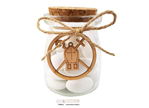 Melograno kit fai da te 12 bomboniere per cresima acz309 decorazione mitra e pastorale (anfora vetro bt56x73)