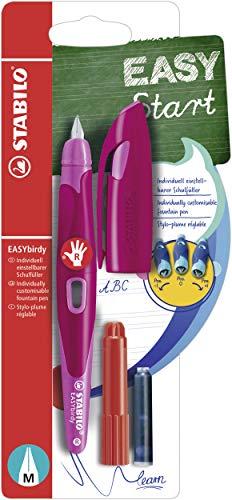 Ergonomischer Schulfüller für Rechtshänder mit Standard-Feder M - STABILO EASYbirdy in beere/pink - inklusive Patrone und Einstellwerkzeug