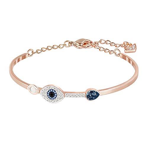 Swarovski Symbolic Evil Eye Armreif für Frauen, blaues Kristall, Metallmix
