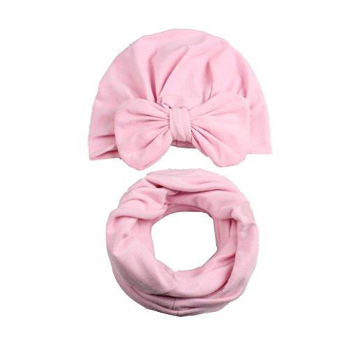 Baby-Hut + Schal, Huihong Herbst Winter Kleinkind Baby Hut Mädchen Boy Cap 8 Farben zur Auswahl (Rosa)