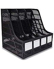 Praxon Magazine Paper Document Folder Tray Rack Storage | 4 Tier Plastic Magazine Frame for Home Office School
