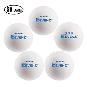 50 Stück Kevenz 3 Sterne Übung Tischtennisball Dauerhaft Ping Pong Bälle(weiß)