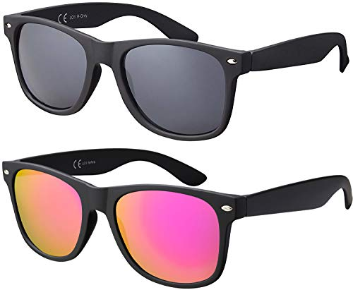 La Optica Original UV400 CAT 3 Damen Sonnenbrille Fashion - Doppelpack Rubber Schwarz (Gläser: 1 X Grau, 1 X Pink/Rosa Verspiegelt)