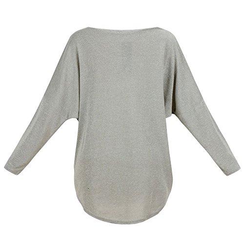 Meyison Damen Lose Asymmetrisch Sweatshirt Pullover Bluse Oberteile Oversized Tops T-shirt Dunkelgrau