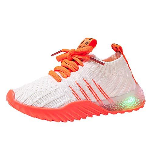 Yncc_BÉBÉ Kinder LED leuchten Candy Schuhe leichte Farbe atmungsaktiv leicht zu Fuß einfach Stricken Turnschuhe 1-6Y Komfort blinkende Turnschuhe als Geschenk -