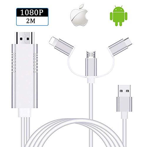 Ozvavzk Cable HDMI Adaptador, 3 in 1 AV Digital Convertidor Telefono to HDMI Adaptador Apoyoe Android y i os.