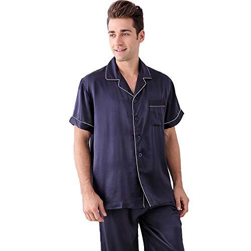 Herren 100% Seide Kurzarm Schlafanzug Set Nachtwäsche Classic PJ Set Nachtwäsche Loungewear Button-Down PJ Set,Blue,XL - Button-down Pj Set