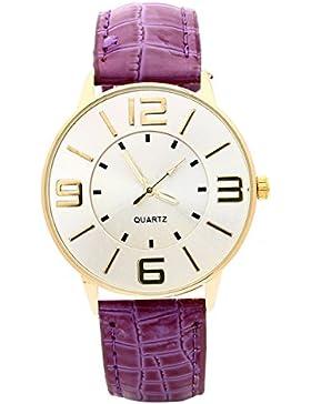 Armbanduhr - SODIAL(R) Krokoband Doppel-Ebene Unisex Grosses Zifferblatt Armbanduhr Lila