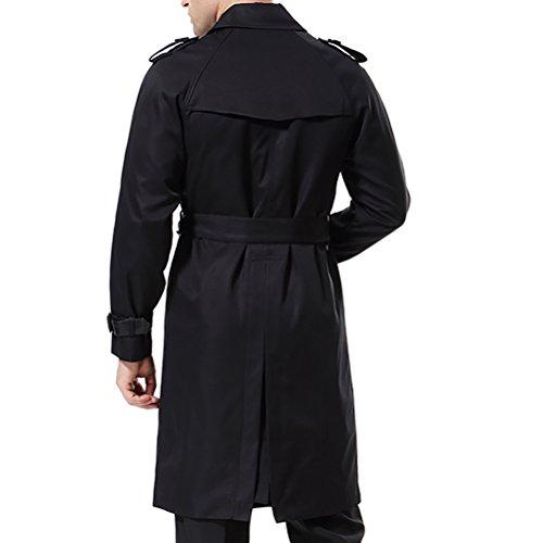 AOWOFS Herren Trenchcoat Lang Zweireihiger Slim Fit Mantel im Militärischen Stil Trench Coat mit Gürtel - 6