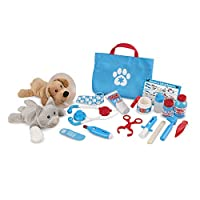 Melissa & Doug Examine and Treat Pet Vet Play Set (Animal and People Play Sets, Helps Children Develop Empathy, 24 Pieces, 26.67 cm H x 34.29 cm W x 8.89 cm L)