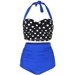 FeelinGirl Lunares Push Up Vintage Talle Alto Conjunto de Baño Bikini para Mujer Negro/Azul L