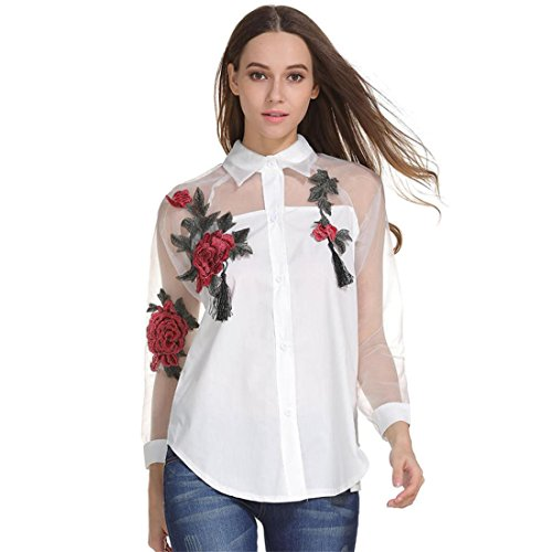 Damen Bluse Btruely Heiße Gestickt Shirt Beiläufig Langarm Hemd Hohl Mesh Garn Top (XXL, Weiß) (Gestickte Hülse Bluse)