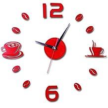 DIY reloj de pared adhesivo digitales con números romanos pegatina de pared de espejo 3D para hogar y oficina Sannysis etiqueta de pared desmontable acrílico reloj decorativo espejo 3d modernos (Rojo)