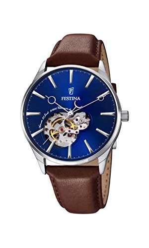 Festina Men's Automatic Watch with Blue Dial Analogue Display and Brown Leather Strap F6846/3