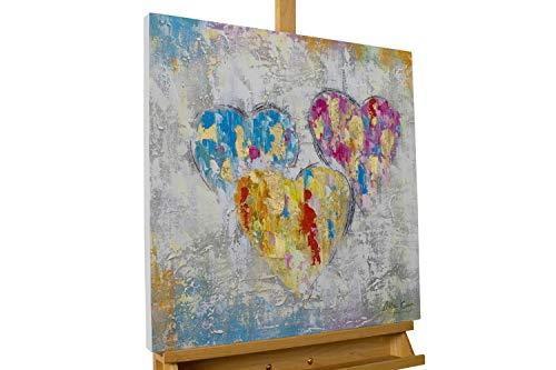 mälde 'EIN Herzenswunsch' 60x60cm | original handgemalte Leinwand Bilder XXL | Modern Herz Grau Bunt | Wandbild Acrylbild Moderne Kunst einteilig mit Rahmen ()