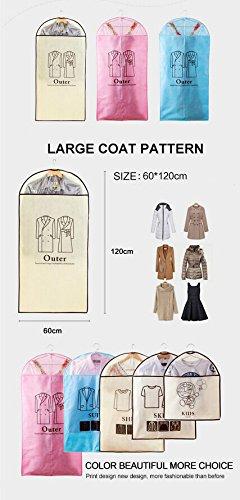 5pz Set home Dress clothes Garment Suit copertura antipolvere di immagazzinaggio Protector con 4dimensioni Beige Pink
