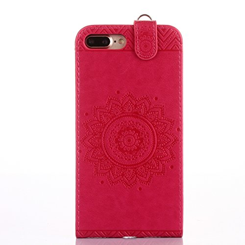 Custodia iPhone 7/8 plus,Ukayfe Flip Cover Case Custodia per iPhone 7/8 plus in pelle PU,iPhone 7/8 plus Lussuosa Astuccio Custodia Cover [PU Leather] [Shock-Absorption] Protettiva Portafoglio Cover C Rosa caldo