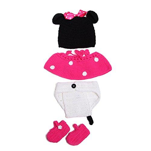 Kostüm Minnie Rosa - Neugeborenes Mädchen-Jungen-Baby-Fotografie Prop Crochet Strickhandgemachte Minnie Mouse Hut Cape Kostüm (rosa)