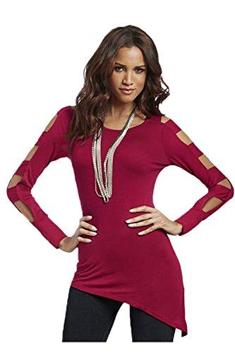 Damen Langarm aushöhlen unregelmäßige Saum Casual Shirt Red