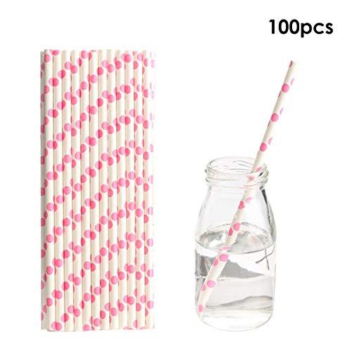 inweg Biologisch Abbaubare Papierstrohe Trinkhalme für Säfte, Shakes, Smoothies, Party Supplies Dekorationen (Color : Pink Polka Dot, Size : One size) ()