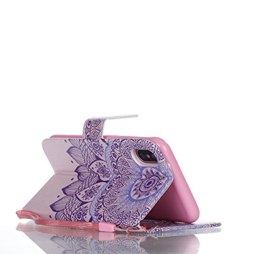 iPhone 8 Leder Brieftasche Zubehör,Vandot Weich PU Hülle für iPhone 8 / iPhone 7 (5,5 Zoll) Flip Magnet Klapphülle Case Cover with Standfunktion Magnetverschluss Kredit Kartenfächer[9 Card Slots] Groß Mandala