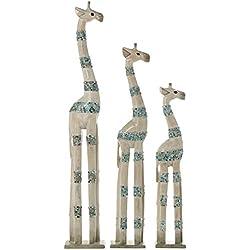DonRegaloWeb - Set de 3 figuras de jirafas de madera albasia adornadas con franjas con cristales de varios colores