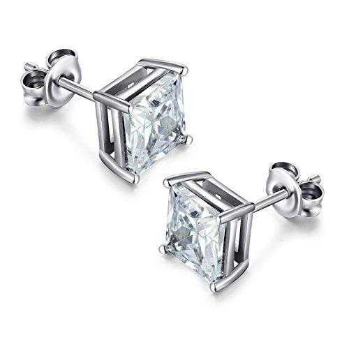 Pendientes de Plata con Diamantes, Cuadrado Princesa de Diamantes Corte Claro Cubic Zirconia Pendientes de Moda Para Mujeres Hombres, Pendiente de Stud Unisex con Circonio Cúbico 5-8 mm