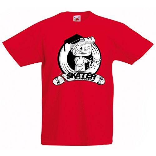 Kinder Jungen/Mädchen T-Shirt Professionelle Skate-Akademie Graduierung - Für Skater - Skateboard - Longboard, Geschenke für den Skater (3-4 Years Rot Mehrfarben) - Arbor Lager