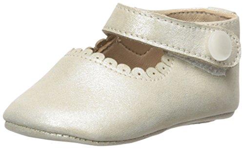 Elephantito Girls' Baby Mary Jane-K Crib Shoe, Suede Talc, 4 M US Infant