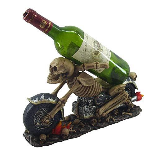 NN Weinflaschenhalter Skelett Biker Rocker Skull Gothic Halloween Weinkeller Tischdeko