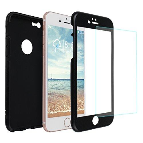 iPhone 6 Hülle, Asnlove 3 in 1 Ultra Dünn 360° Full-Cover Body Protector Back Cover Schutz Case Tasche mit 9H Panzerglas Displayschutz 3D-Touch Folie Vorne Anti-Kratz-Bildschirmschutz für Apple iPhone 6 / iPhone 6S 4.7 Zoll - Schwarz
