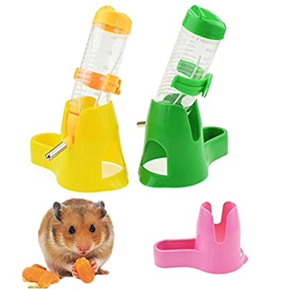 3 in 1 Hamster Water Bottle 120 ml with Food Container Base Hut for Drinking Feeding Rest (Blue) 3